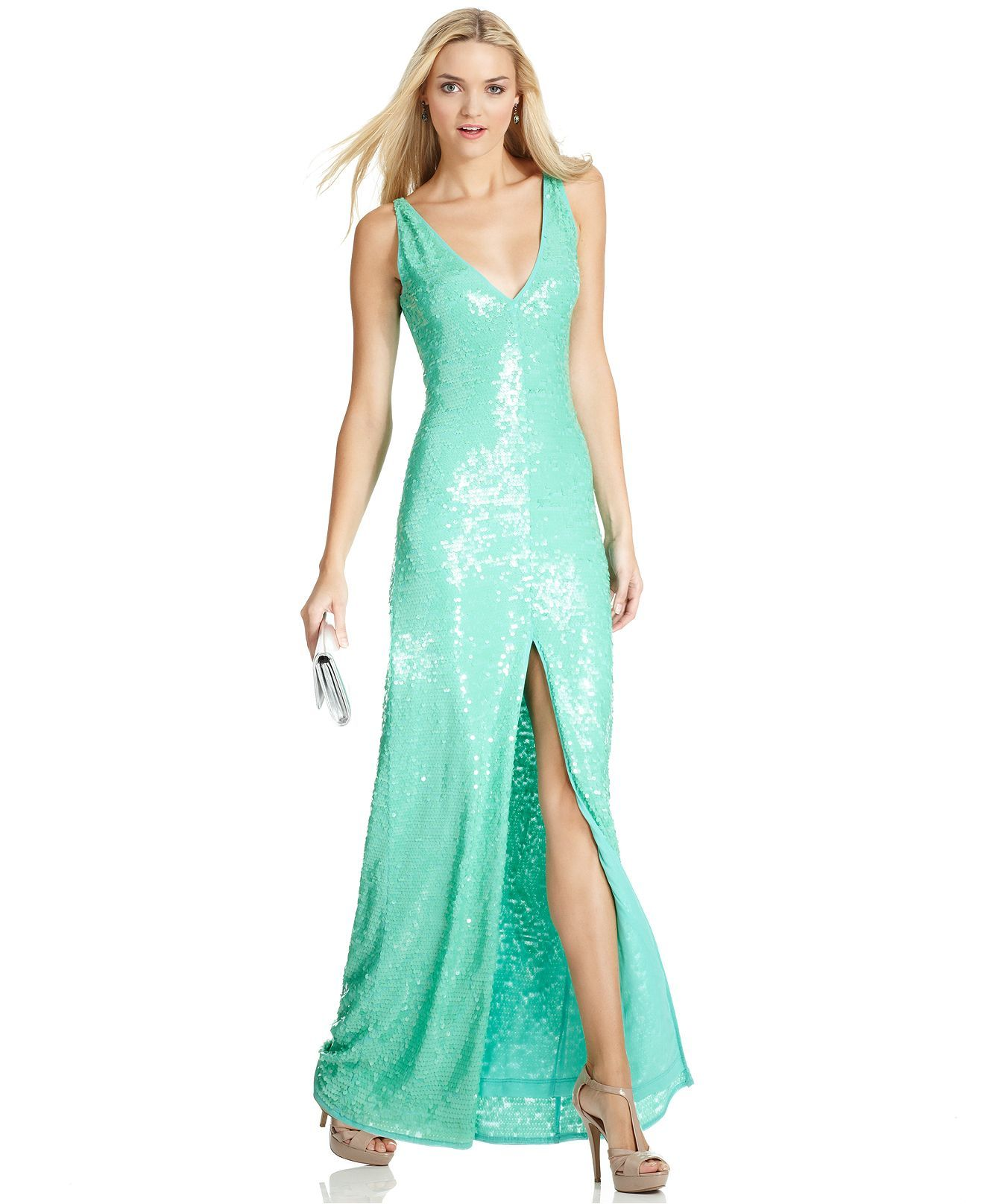 BCBGMAXAZRIA Dress, Sleeveless V-Neck Sequin Gown - - Macy\'s | My ...