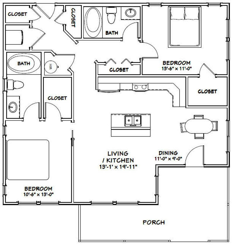 2 Bedroom 2 Bath 1,082 sq ft PDF Floor Plan 36x32 House Model 1B