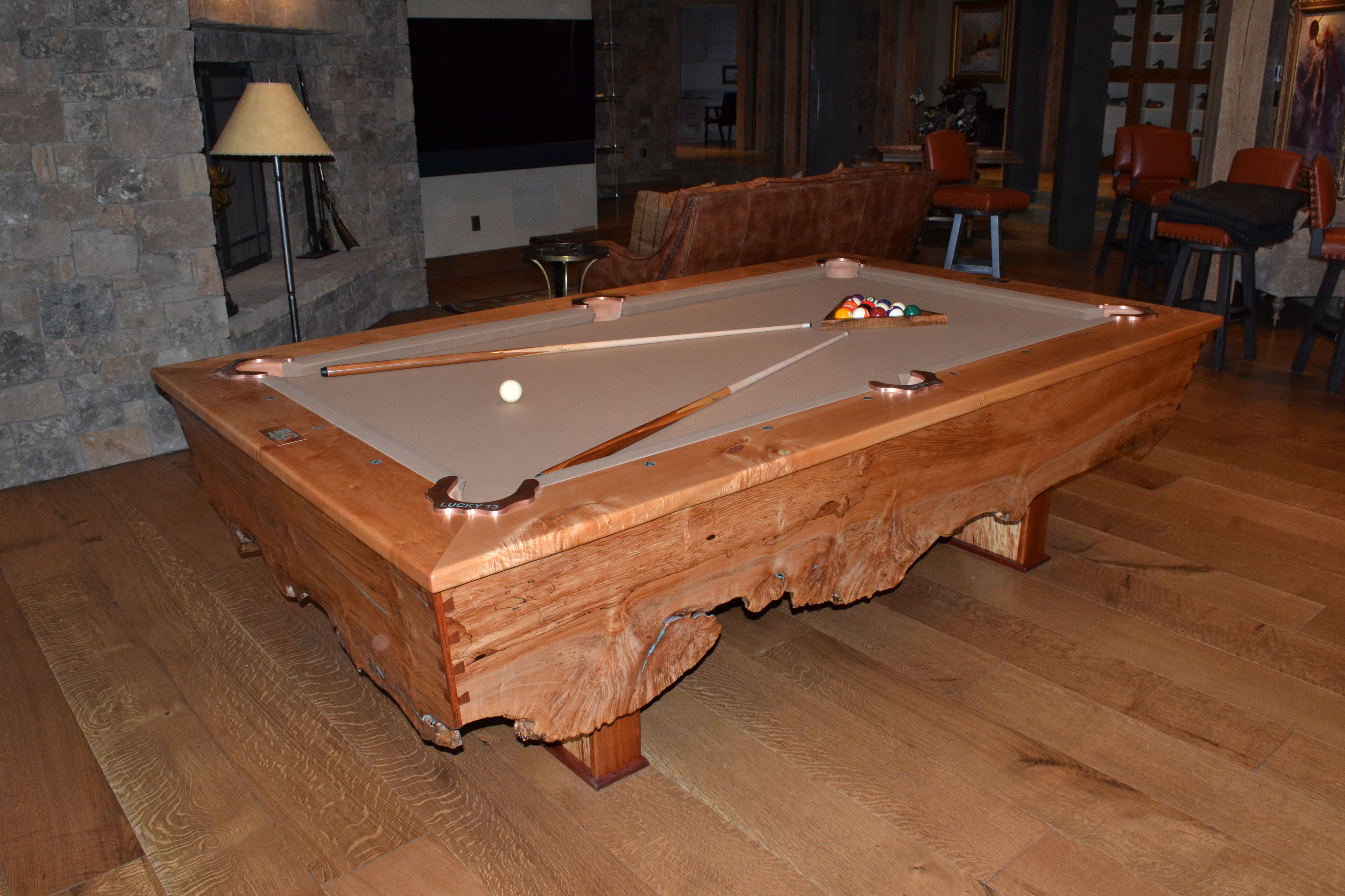 Custom pool table made from Big Leaf Maple and Jatoba