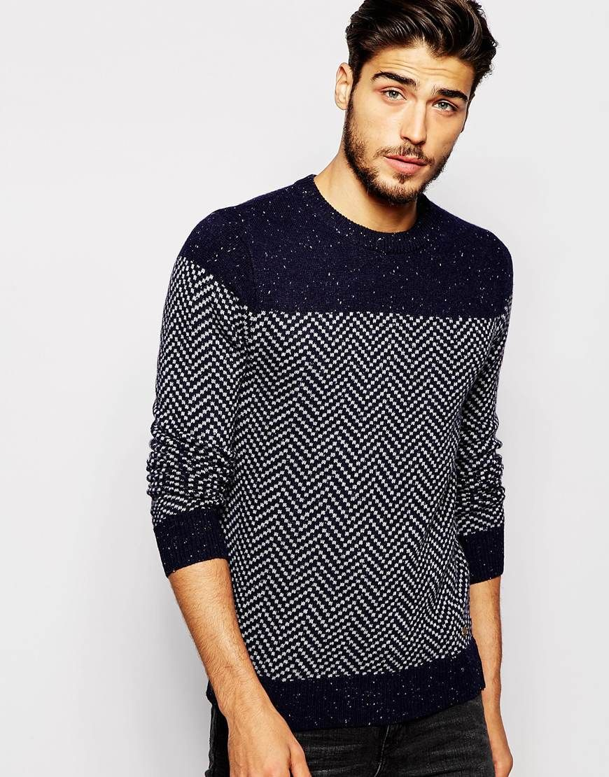 Image 1 of Scotch & Soda Jumper with Herringbone Pattern … | Pinteres…