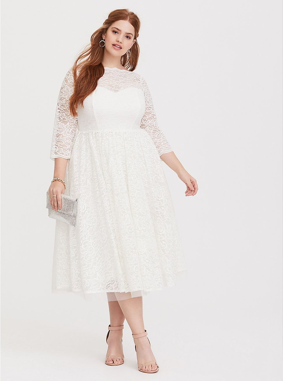 ab9540239f5 Plus Size Special Occasion White Lace Midi Dress