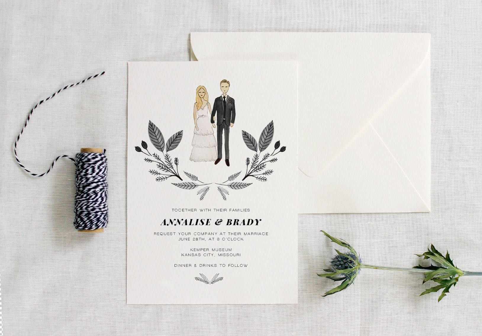 Custom Illustrated WEDDING INVITATION - Couple Illustration - Hand ...