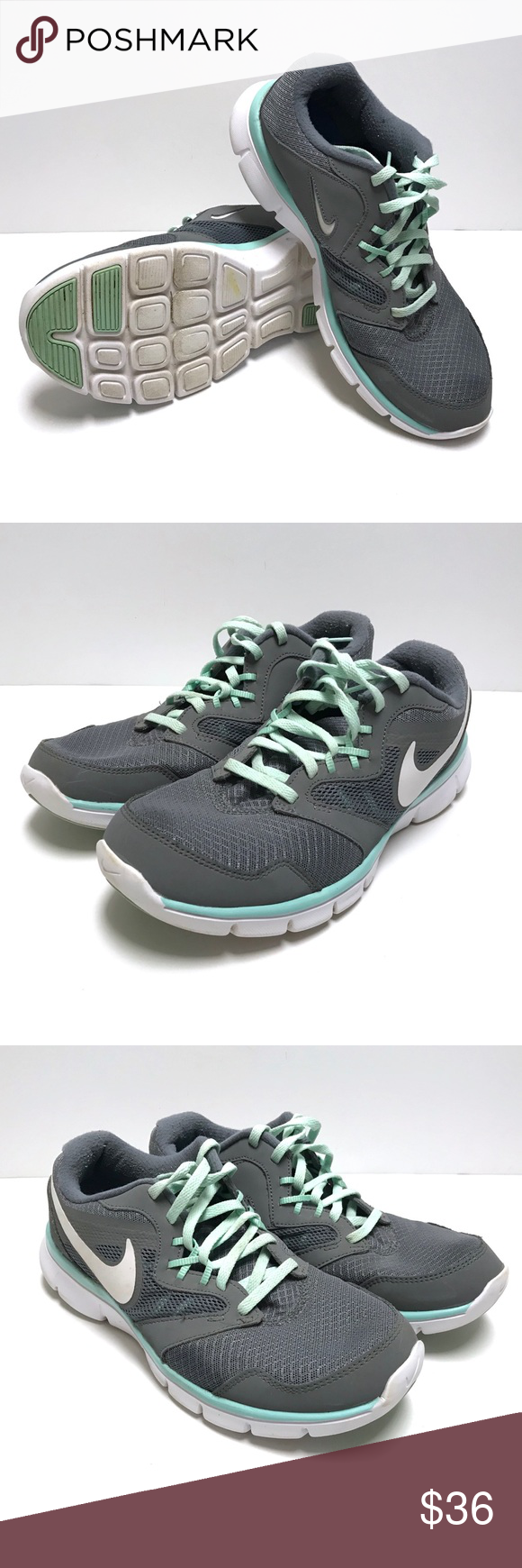 newest 55bfd 19889 Nike Flex Experience Run 3 Cool Grey Medium Mint Gray, blue and light green  color mix Perfect running shoes The shoes have been cleaned and disinfected  Nike ...