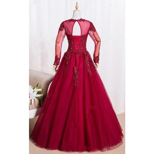 Princess Scoop Neck Burgundy Tulle Floor Length Appliques Lace Long...  ($169) ❤ liked on Polyvore featuring dresses, gowns, prom gowns, purple long  sleeve ...