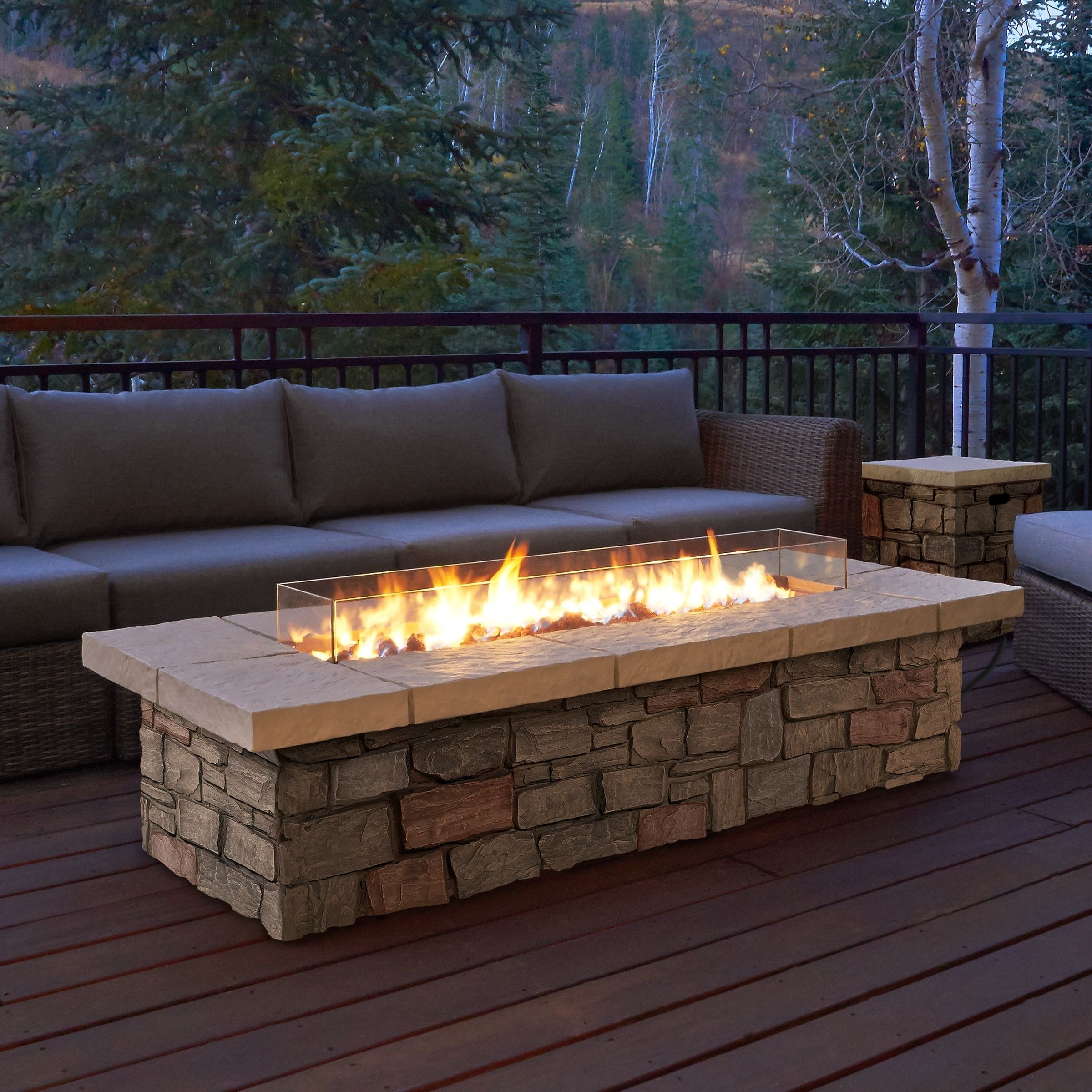 Real flame sedona rectangle lp gas fire table with natural gas