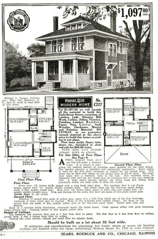 Sears C227 The Castleton Basement House Plans Square House Plans Vintage House Plans