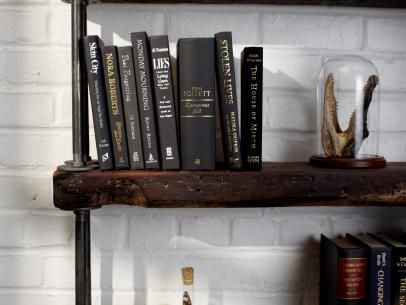 Industrial Rustic Bookshelf | Interior Design Styles and Color Schemes for Home Decorating | HGTV