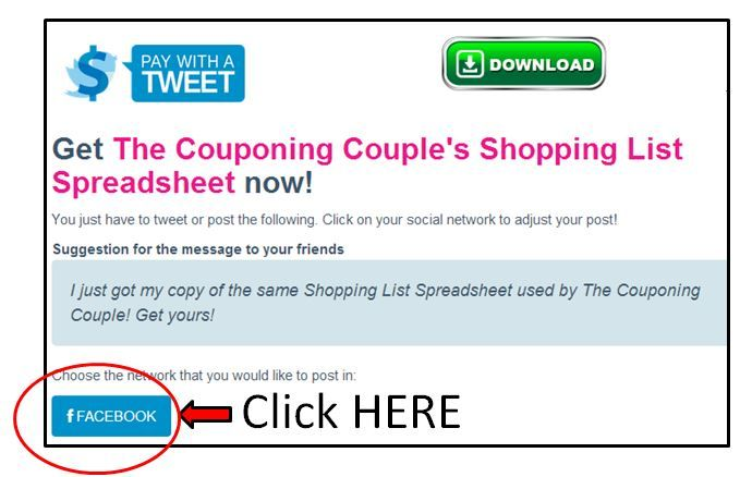 FREE Shopping List Spreadsheet ~ Plan couponing trips in advance