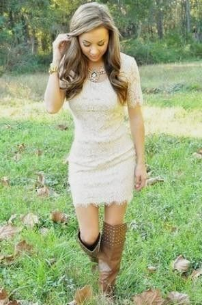cream lace dress with cowboy boots World dresses | western look ...
