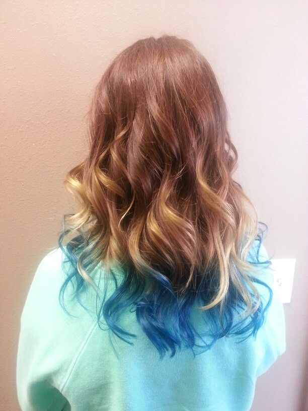 Ombre / teal hair / brown and teal / colored tips / waves ...