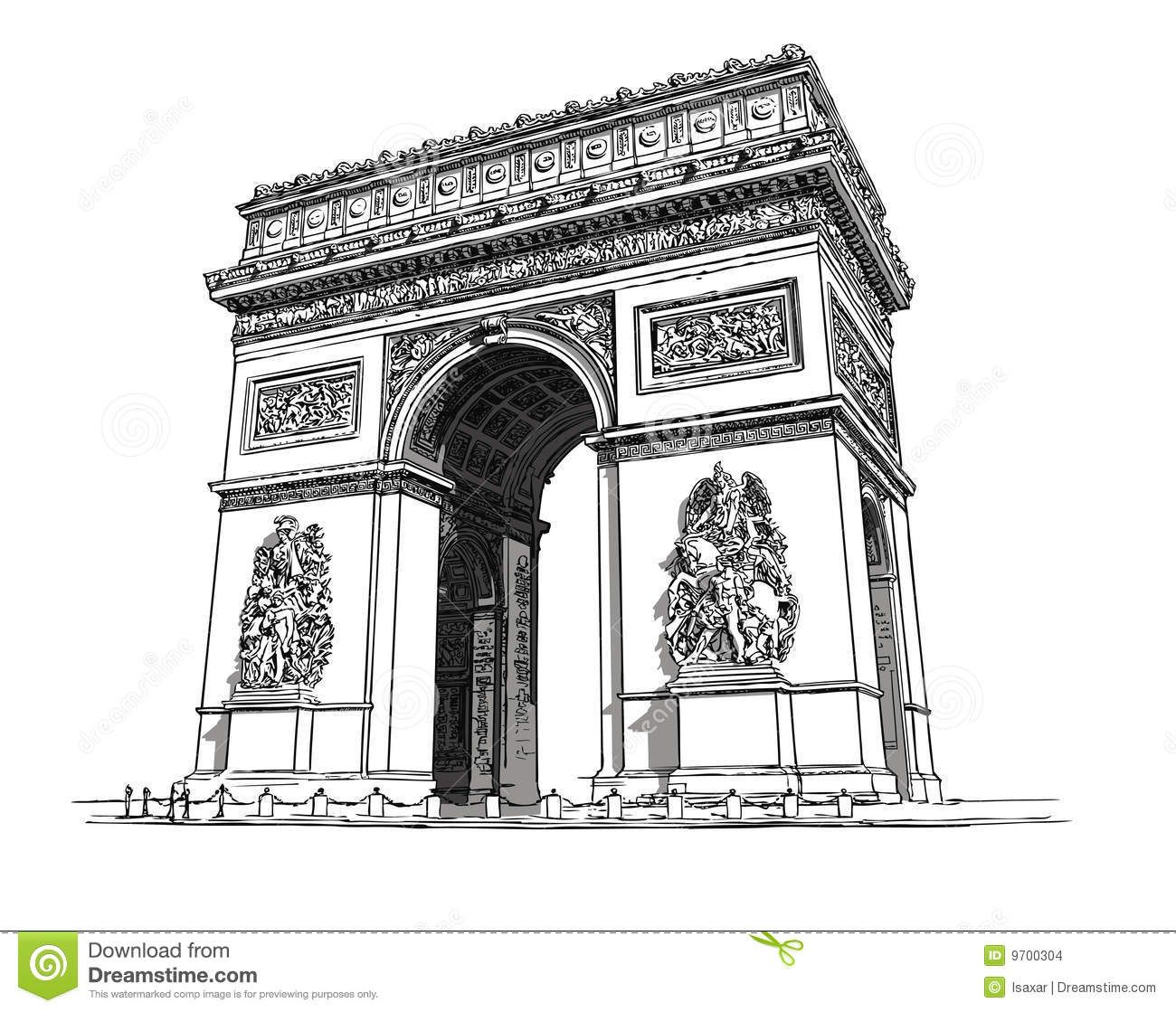 Arc De Triomphe Stock Vector Illustration Of France City