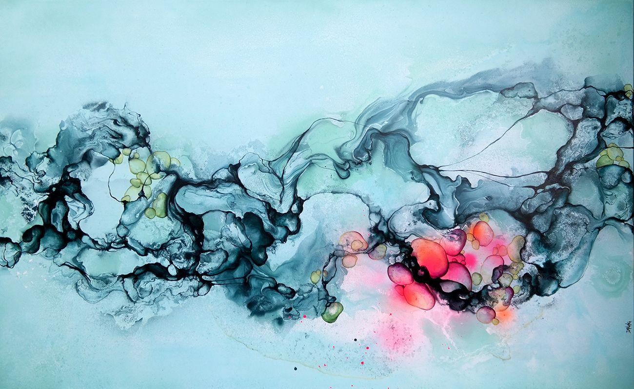 4764aee3 ... Kunstner Rikke Darling. Stort #abstrakt #maleri til salg i #blå farver.  Moderne farverigt maleri af
