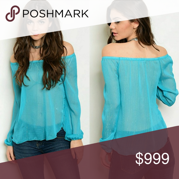 8fddfd311559b Aqua sheer off the shoulder top Beautiful sheer off the shoulder top with  long cuffed sleeves. With tasteful hints of aqua iridescent fiber sewn in.