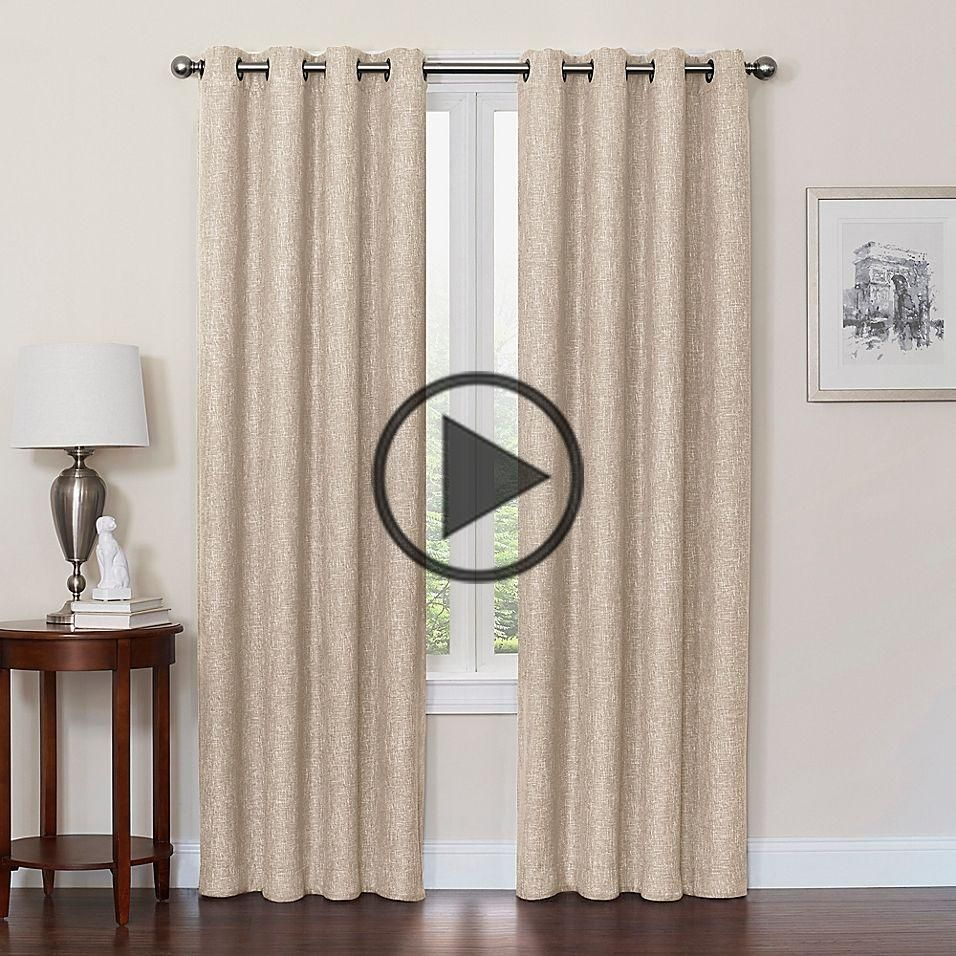 Quinn 120 Inch Grommet Top 100 Blackout Window Curtain Panel In Linen Madera