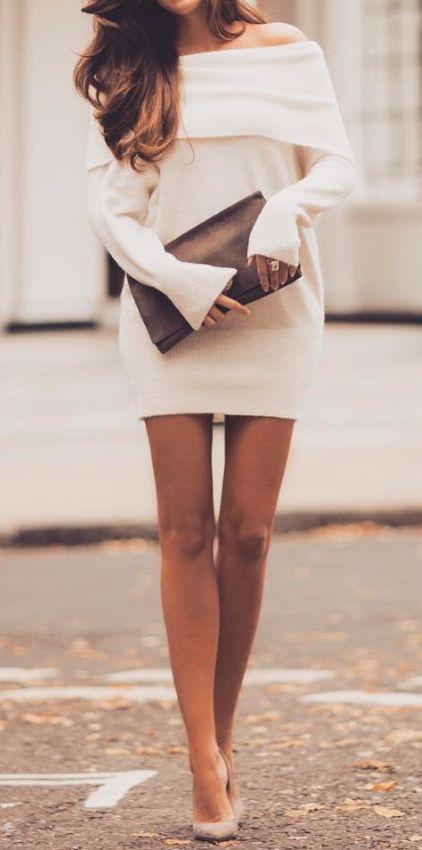 Off shoulder sweater dress... | Street Fashion