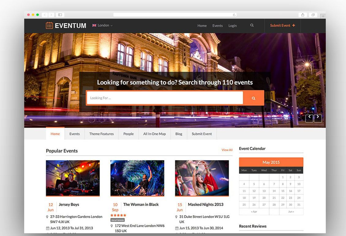 Eventum Event Website Wordpress Theme Event Themes