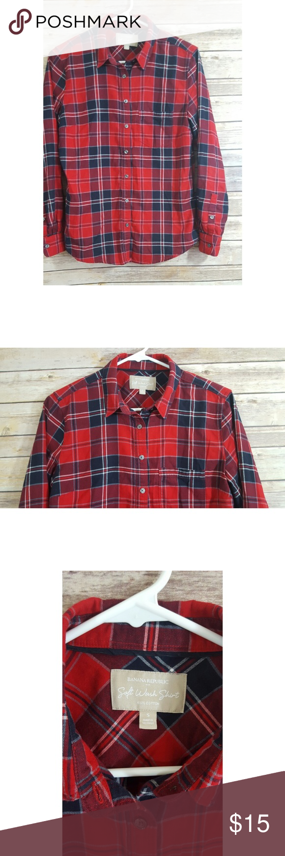 Red plaid flannel jacket  Banana Republic Factory Soft Wash Shirt Size S Great used Condition