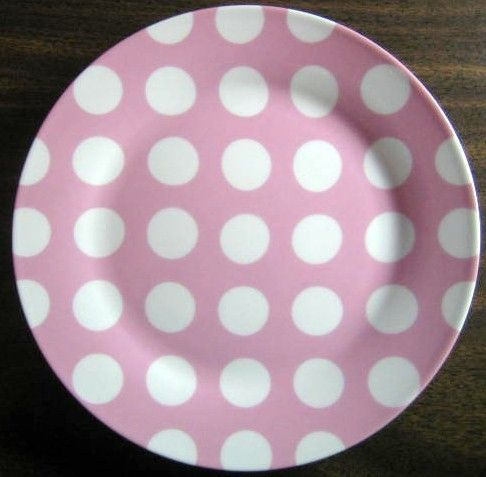 Whimsical Pink White Polka Dots Dotted Plate Pink Dishes Pink Plates Green Dinnerware