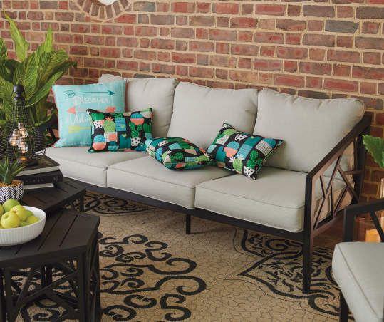 Verrado Black Cushioned Patio Sofa in 2020 | Patio ... on Wilson & Fisher Verrado Black Cushioned Patio Sofa id=20854