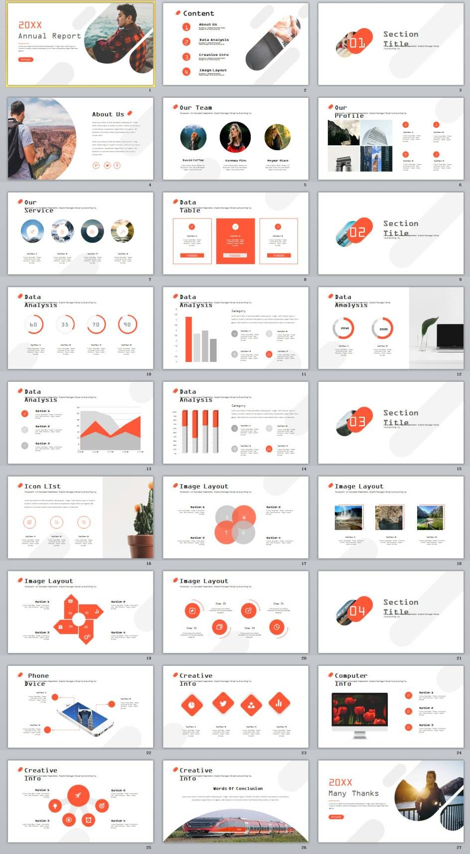 27 red creative annual report powerpoint templates presentation