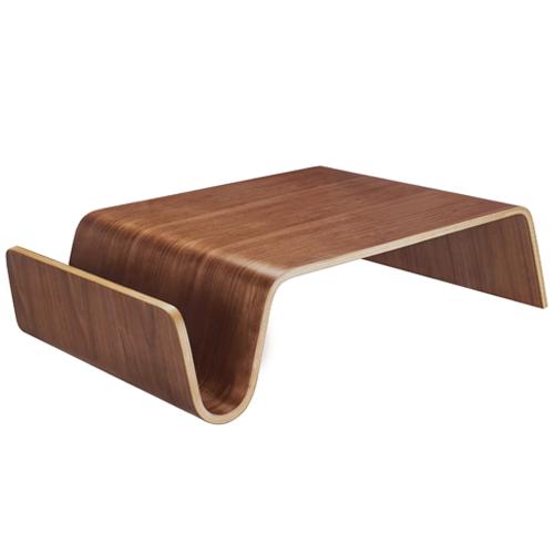 Modern Walnut Ply Funky Wave Coffee Table