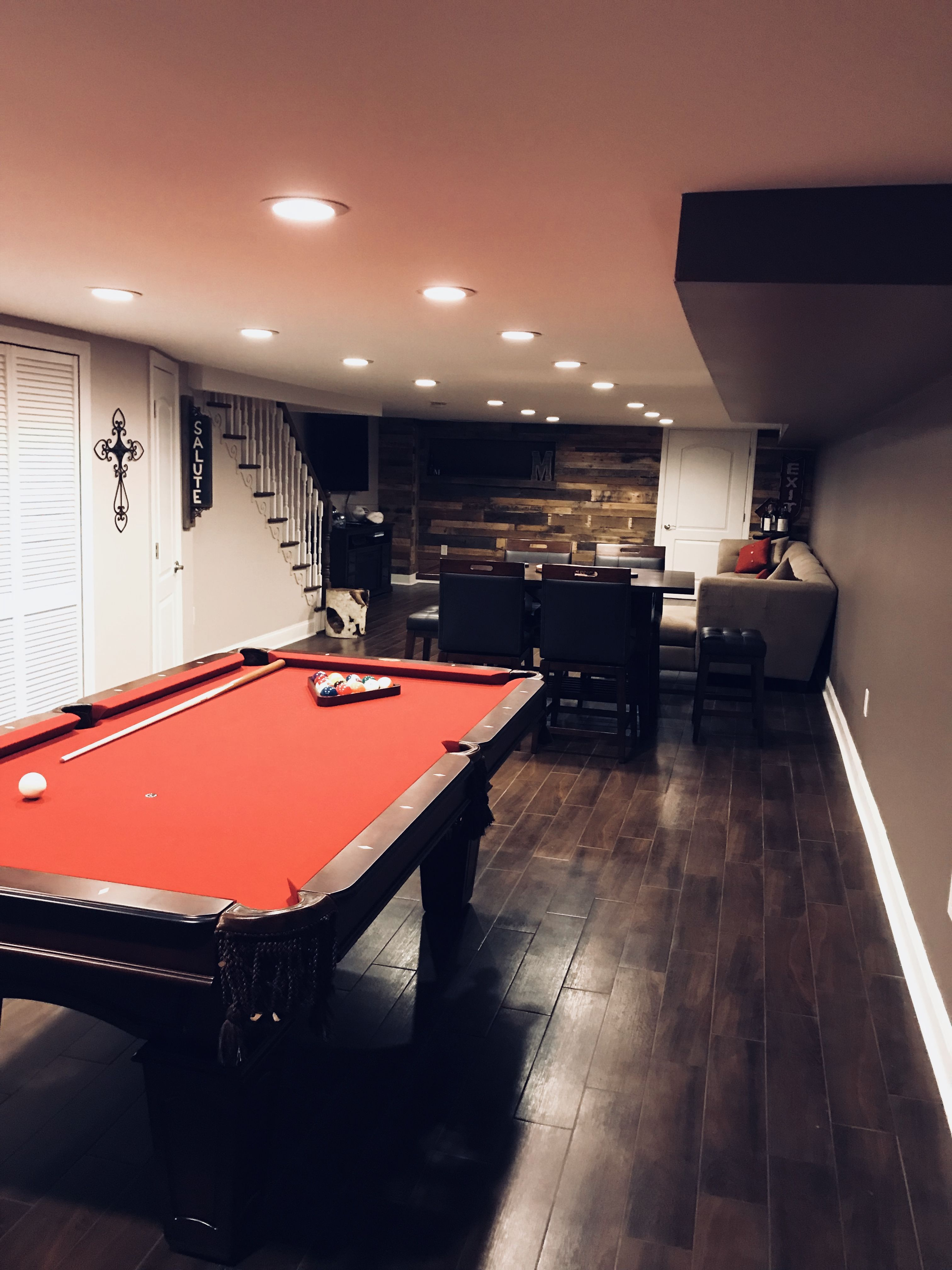 Narrow Basement Mancave With 7ft Burgundy Pooltable From Pool
