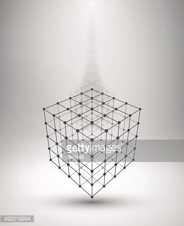 Wireframe Box Cube With Connected Lines And Dots Vector Art ...