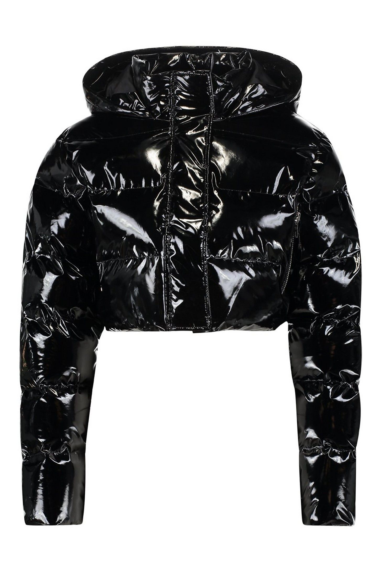 Crop Vinyl Puffer Jacket Boohoo Puffer Jacket Outfit Jackets Vinyl Clothing [ 2181 x 1454 Pixel ]