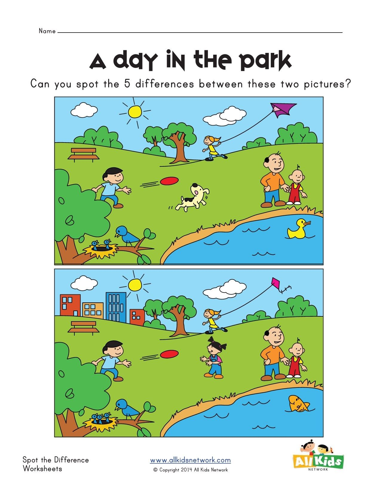 spot the difference park worksheet Spot the difference