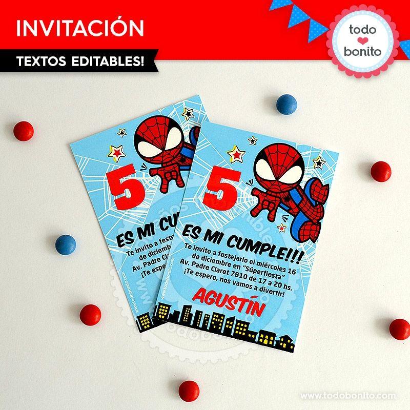 Hombre Araña invitación para imprimir Todo Bonito Fiesta Spiderman Pinterest Spiderman
