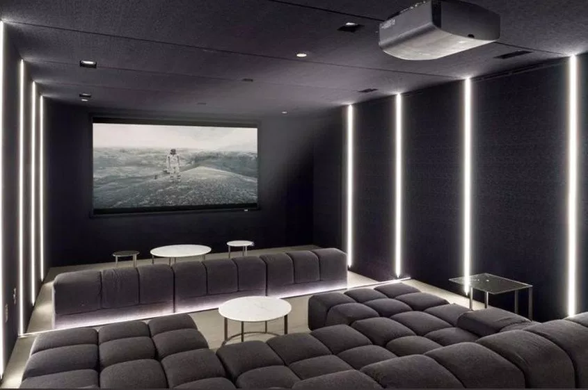 50 Amazing Dark Grey Home Decor With Warm Led Lighting 11 Home Design Ideas Home Theater Room Design Home Cinema Room Home Theater Design