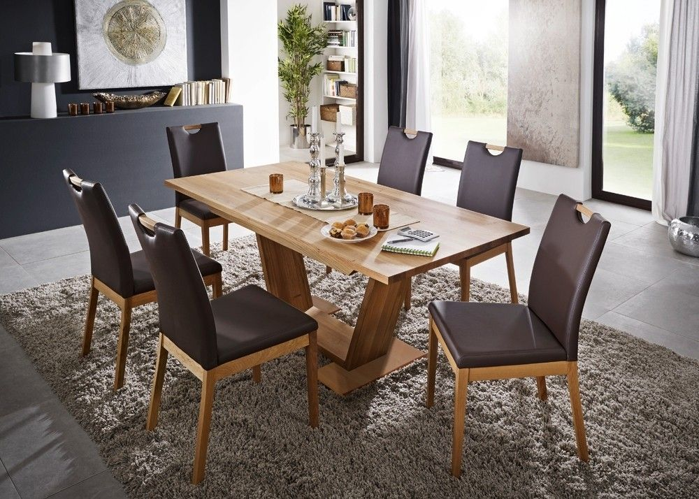 Tischgruppe Palma Esstisch mit 6 Stühlen Holz Wildeiche Massiv - küchentisch mit stühlen