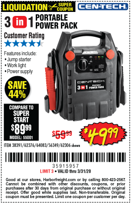 Cen Tech 3 In 1 Portable Power Pack With Jump Starter For 49 99 In 2020 Portable Power Power Pack Harbor Freight Tools