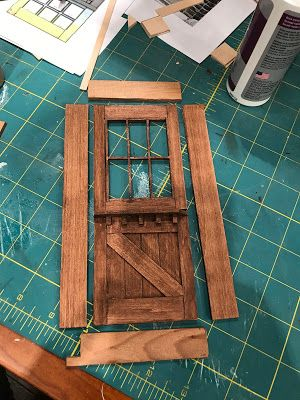 I completed the back door to my cabin project.              This was the template that I used for the door from a drawing that I did in Aut... #dioramaideas
