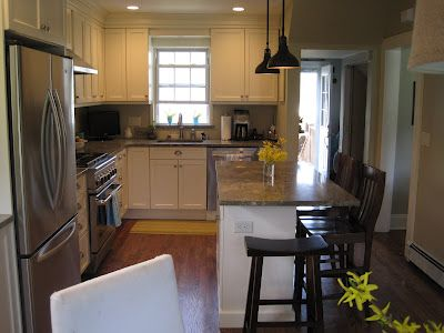 Pictures- small kitchen island with seating on end ...