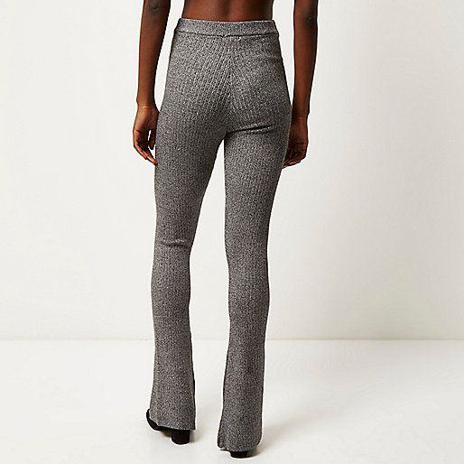 091d96d8a3a7 Grey ribbed flared trousers
