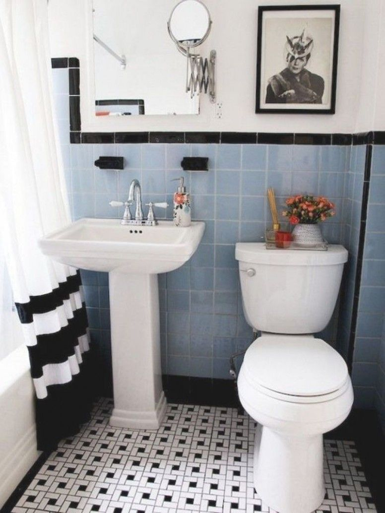 Retro Blue Tile Bathroom Decorating Ideas In 2020 Vintage Bathroom Tile Black And White Bathroom Floor Blue Bathroom Tile