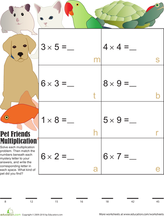 Pet Pals Mystery Multiplication Math Worksheets Pinterest