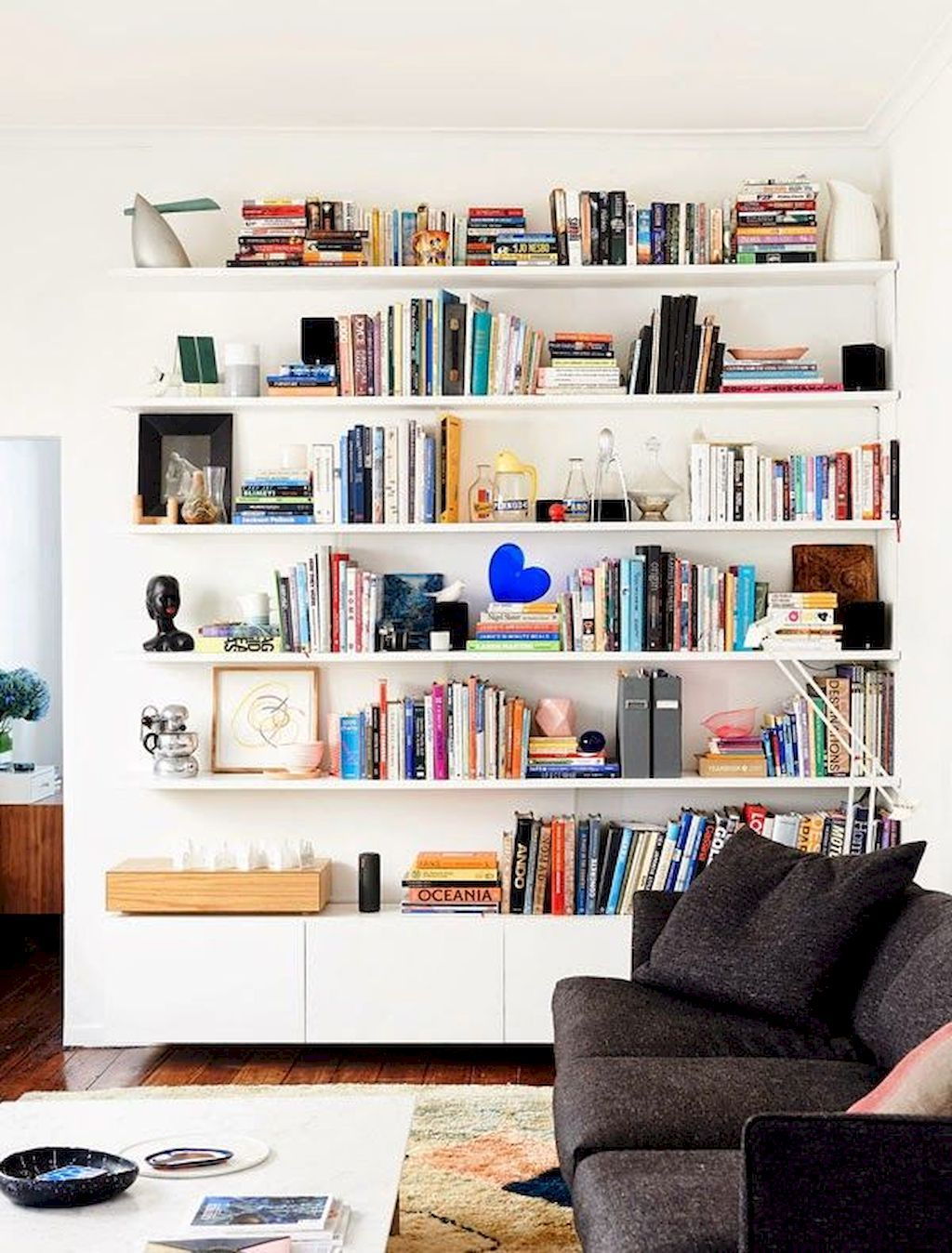 Inspiring Highly Functional Floating Shelf For Living Room The Floating Shelf Is Not Merely About Storage And Tr Home White Bookshelves Home Living Room