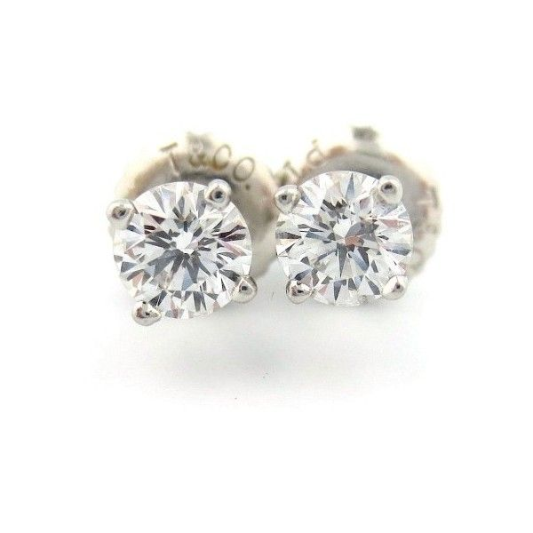 Pre Owned Tiffany Co 950 Platinum Round 47ct Diamond Stud