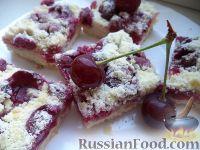 """Фото к рецепту: Насыпной пирог """"Проще некуда"""" с вишнями"""
