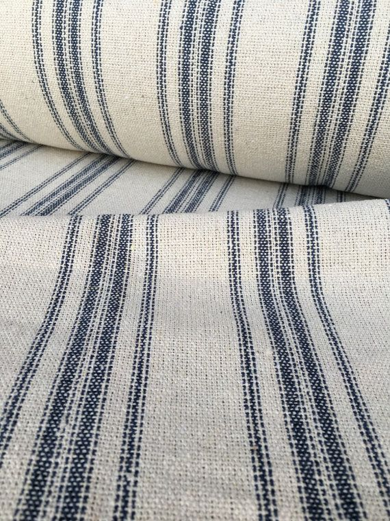 Grain Sack Fabric Sold By The Yard Blue Stripe Vintage Inspired Feed