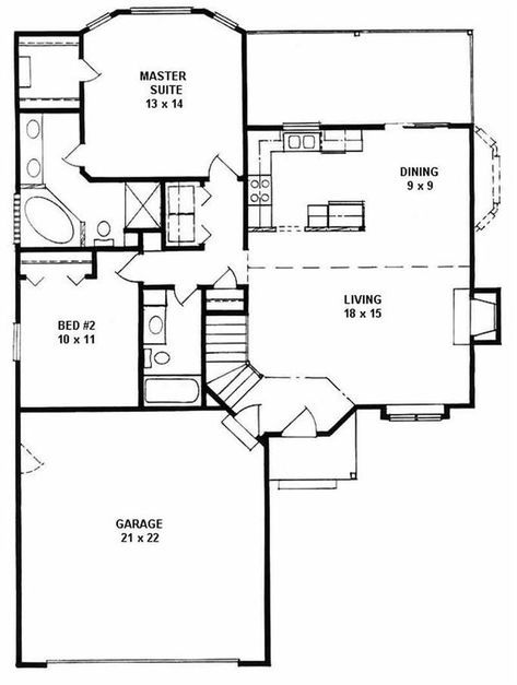 Ranch Home with 2 Bdrms, 1103 Sq Ft | House Plan #103-1101 | TPC ...