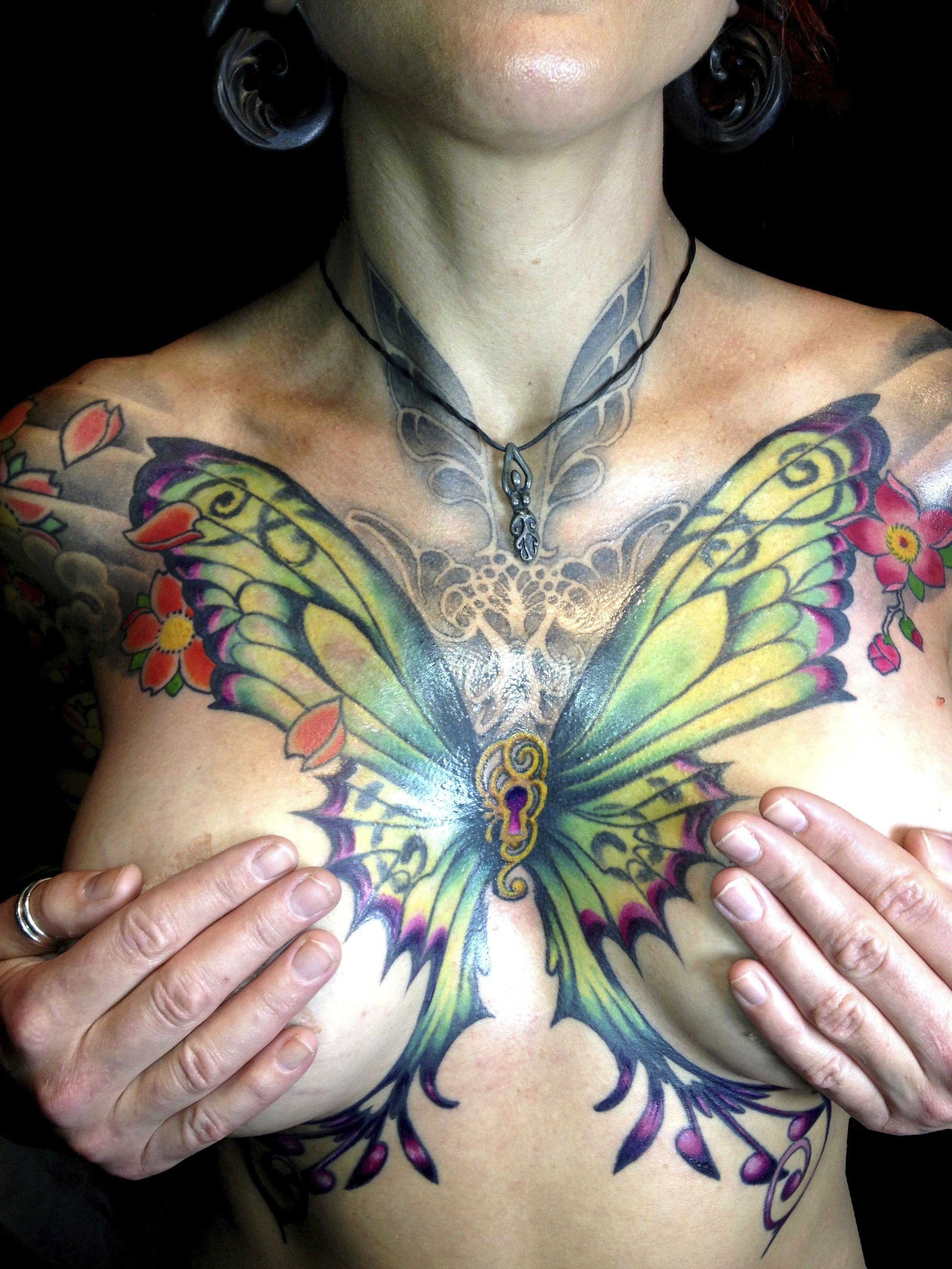 d991243f83701 tattoo by michael norris of hubtattoo in austin texas #chest-tattoo #sexy- tattoo #butterfly-tattoo