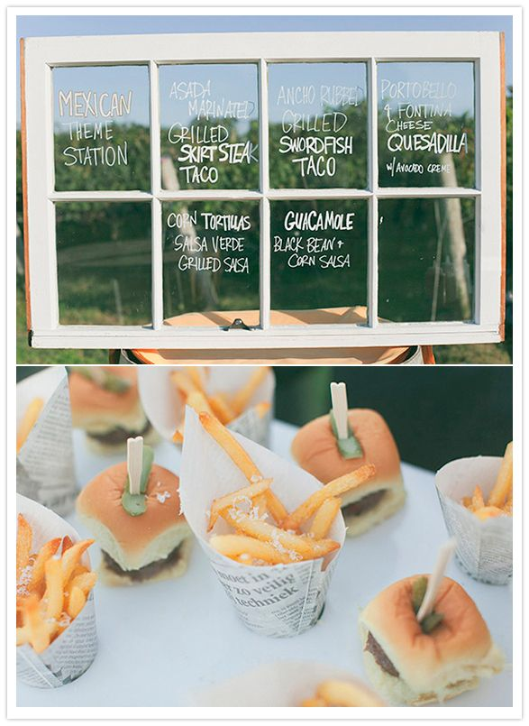 sliders and fries and window menu
