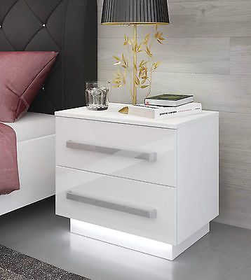 White Bedside Cabinet Table Free Led High Gloss