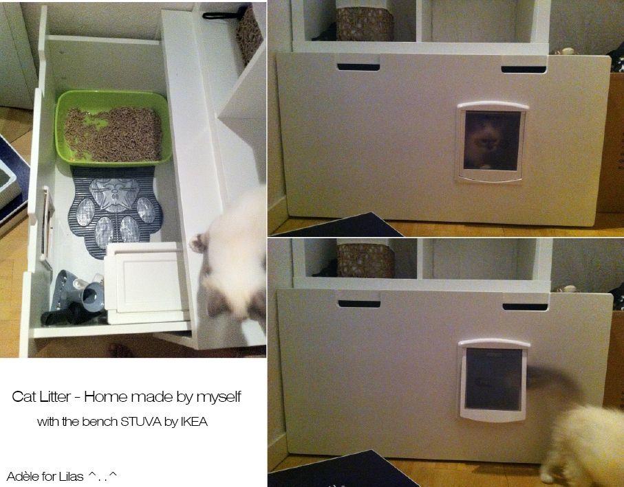 DIY  Hacks  Cat litterbox with STUVA bench IKEA Fait maison Litire pour chat faite