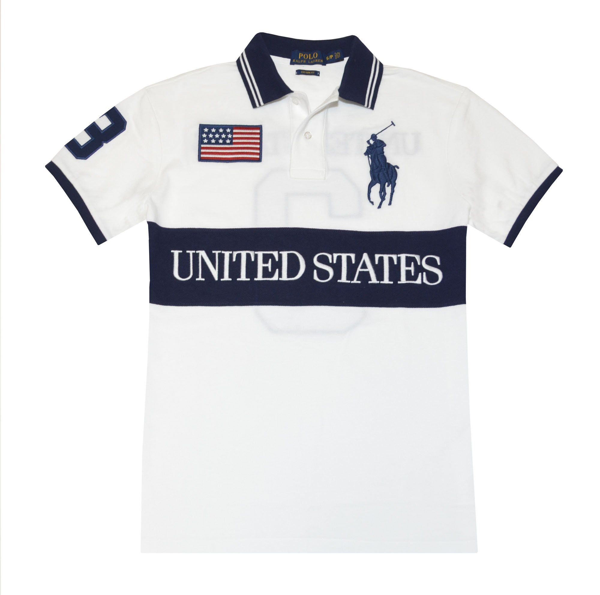 Polo Ralph Lauren Men Custom Fit United States Flag Polo Shirt (S, White/Navy/Red)  at Amazon Men's Clothing store: