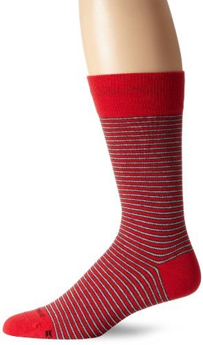 HUGO BOSS Men's Striped Crew Sock, Red, One Size - Boss orange casual sock. Product Features  Single color micro stripe design. Boss orange logo on calf.