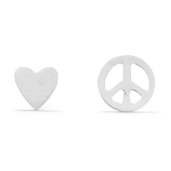 Mismatch Heart and Peace Sign Earrings ($13) ❤ liked on Polyvore featuring jewelry, earrings, peace sign jewelry, peace earrings, sterling silver peace sign earrings, peace sign earrings and heart shaped jewelry